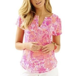 Lilly Pulitzer Duval Pink Linen Shirt Top